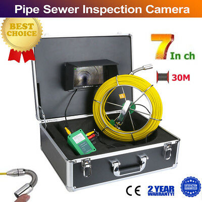 "30M 98FT IP68 Waterproof Drain Pipe Sewer Inspection Camera 7"" LCD 1000 TVL Cam"