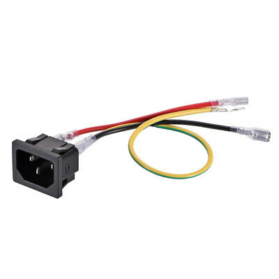 Panel Mount Plug Adapter AC 250V 10A C14 3 Pins Inlet Module Plug with 3 Wires