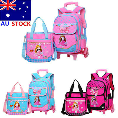 AU 2PCS Girls Bowknot Trolley School Bag With Wheels Children Backpack Removable