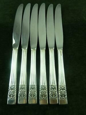 6 Vintage Oneida Coronation pattern silver plated Dinner Table Knives Hampton