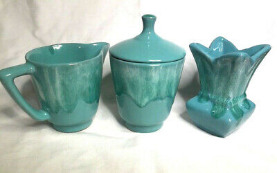 McMaster Craft Canadian Pottery ~ Vase, Creamer & Sugar Set,turquoise drip