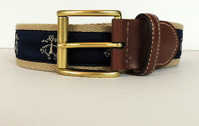 acfd266646f Brooks Brothers Mens 36 Belt Golden Fleece Leather Made In USA Sheep Logo  RARE