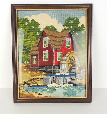 VTG Crewel Needlepoint Picture Thatched Roof Red House Waterfall Mill Embroidery