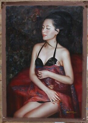 Fine art portrart Oriental girl ancient lady original oil painting on canvas 36""