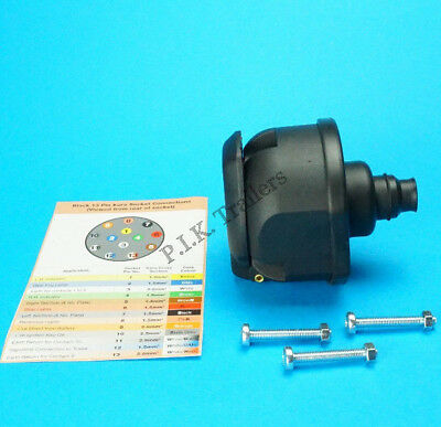 13 Pin Towing Socket & Seal with Colour Cable Guide for Caravans & Trailers