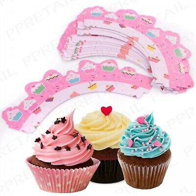 12 pack pink cupcake wrappers cake baking muffin wraps