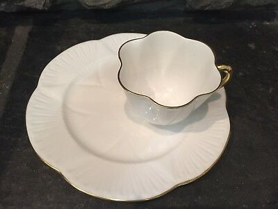 Shelley Fine Bone China Regency Dainty White Gold Snack Plate Cup Set England
