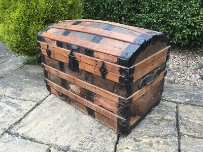 Antique Steamer Chest Trunk Ottoman OAK Victorian Dome Top Banded Box Treasure