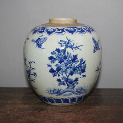 Old Chinese Blue and White Porcelain Dragon Cover Jar tank