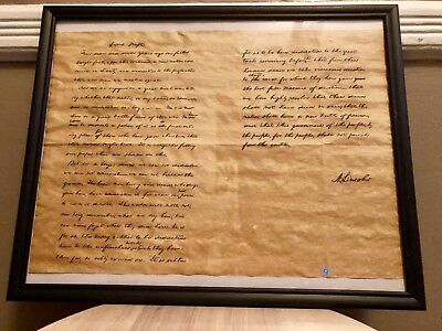Replica Gettysburg Address Parchment Paper. Framed. 10 X14.