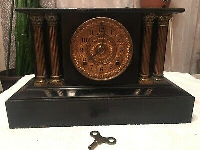 Antique Ansonia Cast Iron Clock Gold Faced W/ Greek Pillar Design