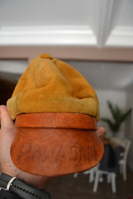 Vintage Handmade Tooled Leather RARE Kawasaki motorcycle 1970's cabby hat