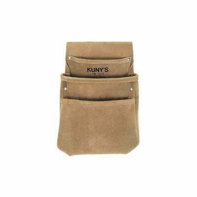 KUNYS Split Grain Leather 3 Pocket Drywall Nail Tool Belt Pouch Holder, DW1018