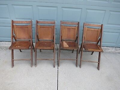 Vintage 2 Pair Wood Folding Slat Chairs 4 Chairs!