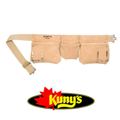 KUNYS 5 Pocket Suede Leather Tool Belt/Apron Hammer Holder Nail Pouch, AP1300