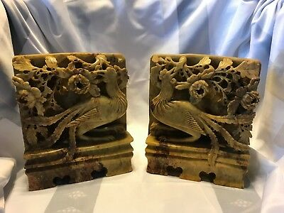 Antique Vintage CHINESE Carved Soapstone Bookends Flowers with Bird Pheasant