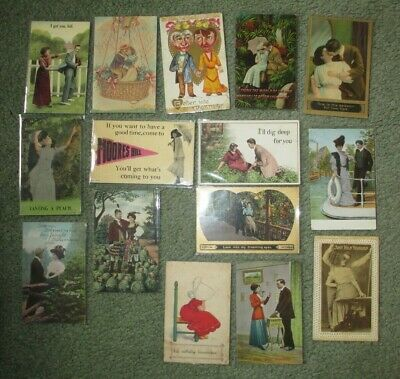 Vintage Postcards Love - Romance - Best Wishes - Advertising 15 Cards Lot # 2