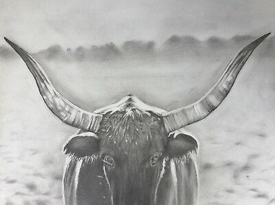 CONTEMPORARY WESTERN TEXAS LONGHORN WATERCOLOR EFFECT 13X19 PRINT BY LEE CASBEER