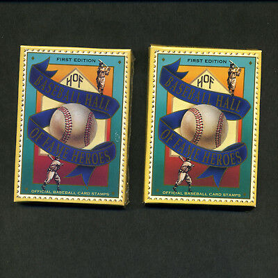 1992 St. Vincent Hall Of Fame Stamp Cards, 2 Sets of 12, Ruth, Cobb, Gehrig