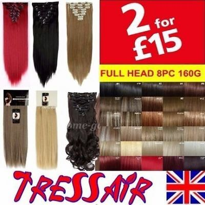 "Hair Extensions Clip in 18"" 22"" Brown Black Red Ginger Real hair feel Straight"