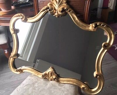 French Antique Rococo Style Gilded Mirror Large Size
