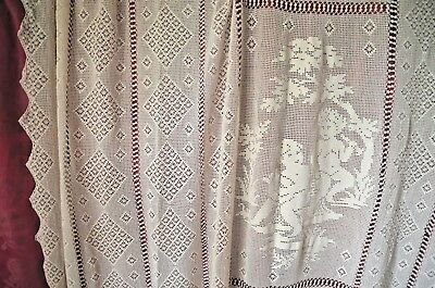 """Antique French hand made pufe cotton figural bed cover, 93"""" x 90"""", unused"""