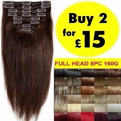 8pcs Full Head Clip in Hair Extensions brown light ash blonde black red plum