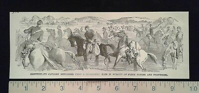 1885 Civil War Print - Confederate Cavalry Returning from a Successful Raid