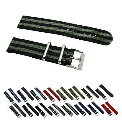 2 Piece Ballistic Nylon RAF SS Military Solid/Stripe Replacement Watch Strap