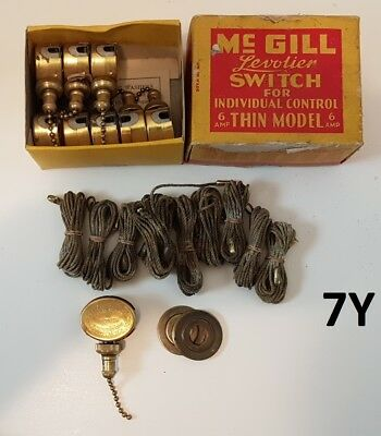 McGill #41 Thin Levolier Brass Switches Lamp Parts Box of 9 NOS Vintage Antique