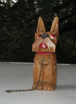 Scottish Terrier Vintage Carved Wood Figurine With Glass Eyes