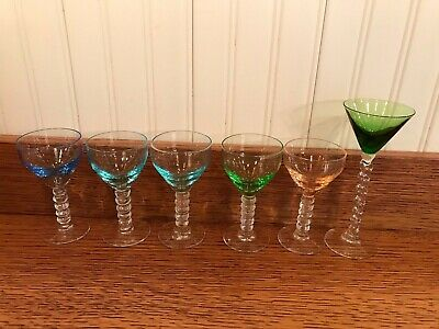 Vintage Cordial Stemware Rainbow Color glass, 6  Mixed Lot Over 70 years old