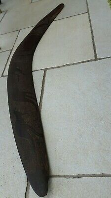 Large Vintage 1963 Wooden Carved Boomerang From Australia Tribal/aboriginal