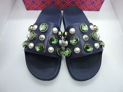 2e338f4b3641 TORY BURCH VAIL Navy Blue Jewelled Flat Slide Sandals Size 6 Retail ...