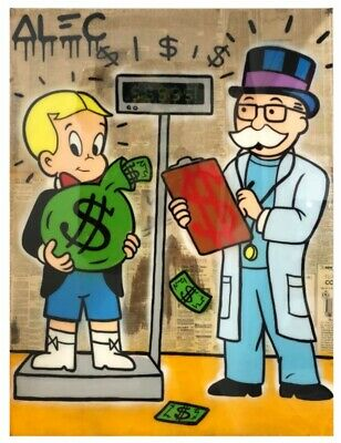 """Alec Monopoly Weighing Handmade Graffiti art oil painting on canvas 24x32"""""""