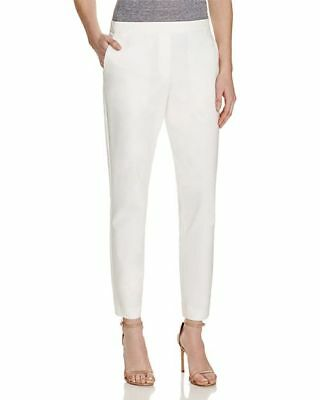 $300 New Theory Women'S White Cropped Slim Fit Elastic Waistband Pants Size 0