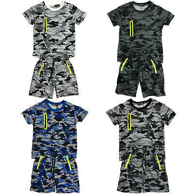 Boys Kids T-Shirt Short Set Camo Army Camouflage Summer