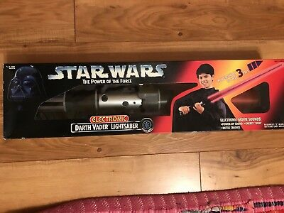 Star Wars Darth Vader Electronic Lightsaber Power of the Force 1996 NIB