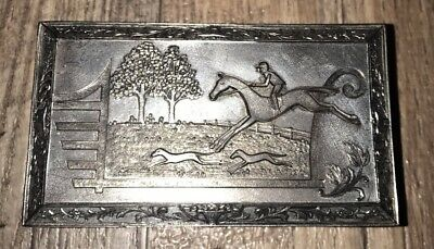 VINTAGE PEWTER HORSE JOCKEY JEWELRY BOX CEDAR JAPAN Trinket Racing