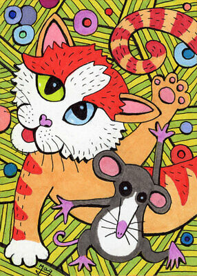 ACEO Cat & Mouse Picasso Dance HANDMADE ORIGINAL PAINTING Animal Fantasy Art