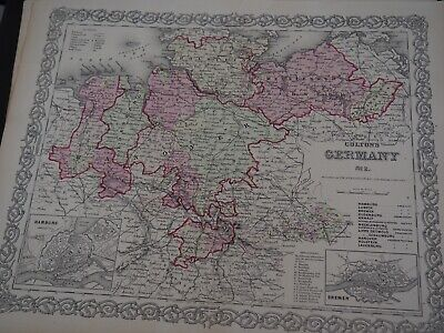 """Antique Map """"The Environ's of Paris"""" Colton's General Atlas of the World 1886"""