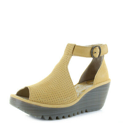 Womens Fly London Yall Cupido Leather Bumblebee Wedge Sandals Size