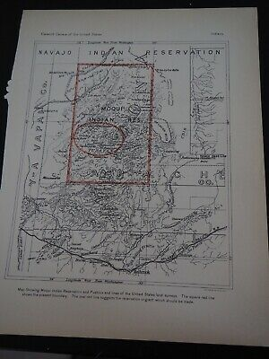 """Antique Map """"Moqui Indian Reservation"""" from the 11th Census of the U. S."""