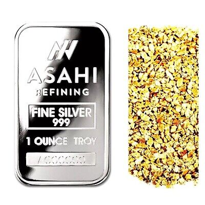 1 Troy Ounce .999 Silver Asahi Serialized Bar Bu + 50 Piece Alaskan Gold Nuggets