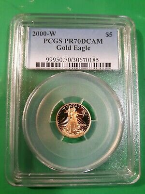 2000 pcgs ms 70 gold American eagle 1/10 oz proof dcam