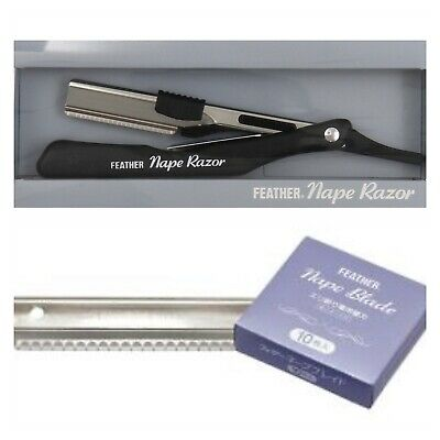 Salon Barber Shaving Feather Nape Razor And Nape 10 Blades Pack