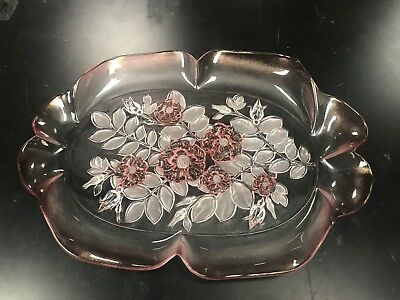 Rosella Walther Glass platter, pink floral, made in West Germany No. 4225/O
