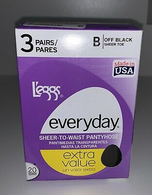 Leggs 3 Pair Women's Everyday Off Black Sheer Toe To Waist Pantyhose Size B NEW
