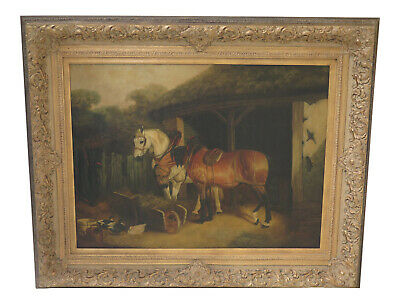 F30719EC: Large Artist Signed L. Cassidy Horse Painting Oil On Canvas