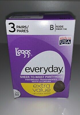 Leggs 3 Pair Women's Everyday NUDE Sheer Toe To Waist Pantyhose Size B NEW